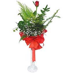 Bartın anneler günü çiçek yolla  Cam vazoda masum tek gül