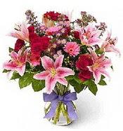 Vazo içerisinde karışık mevsim çiçeği  Bartın çiçek siparişi sitesi