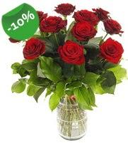 11 adet vazo içerisinde kırmızı gül  Bartın online çiçek gönderme sipariş