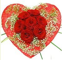 Mika kalp içerisinde 7 adet kırmızı gül  Bartın çiçekçi mağazası