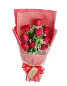 9 adet kırmızı gülden görsel buket  Bartın ucuz çiçek gönder