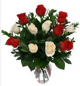 Vazo içerisinde 6 kırmızı 6 beyaz gül  Bartın hediye çiçek yolla