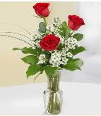 Vazo içerisinde 3 adet kırmızı gül  Bartın çiçek satışı