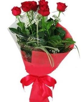 5 adet kırmızı gülden buket  Bartın kaliteli taze ve ucuz çiçekler