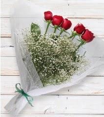 5 kırmızı gülden sade buket  Bartın çiçek yolla