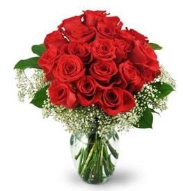 25 adet kırmızı gül cam vazoda  Bartın çiçek , çiçekçi , çiçekçilik