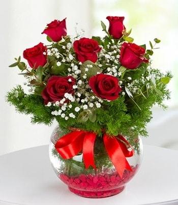 fanus Vazoda 7 Gül  Bartın çiçek , çiçekçi , çiçekçilik