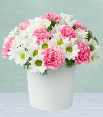 Seramik vazoda papatya ve kır çiçekleri  Bartın çiçek siparişi sitesi