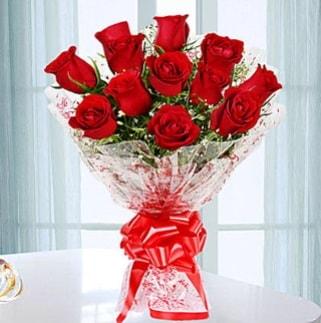 11 adet kırmızı gülden görsel şık buket  Bartın ucuz çiçek gönder