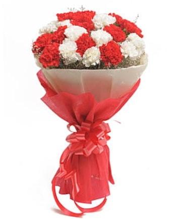 21 adet kırmızı beyaz karanfil buketi  Bartın çiçek satışı
