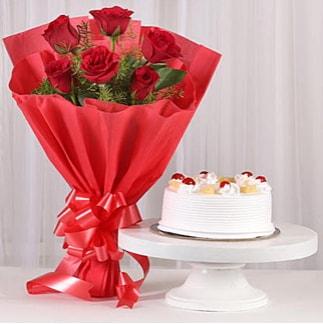 6 Kırmızı gül ve 4 kişilik yaş pasta  Bartın çiçek , çiçekçi , çiçekçilik
