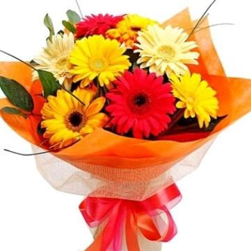 9 adet karışık gerbera buketi  Bartın çiçek , çiçekçi , çiçekçilik