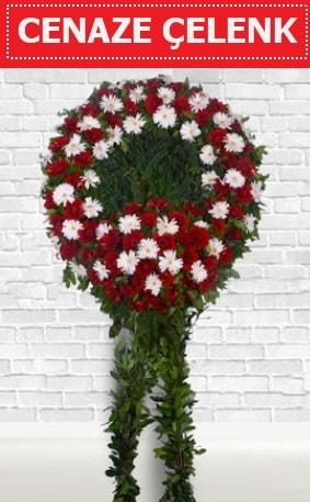 Kırmızı Beyaz Çelenk Cenaze çiçeği  Bartın İnternetten çiçek siparişi