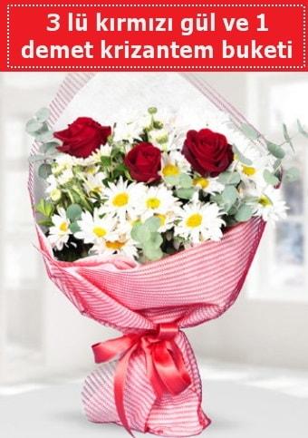 3 adet kırmızı gül ve krizantem buketi  Bartın çiçek gönderme sitemiz güvenlidir