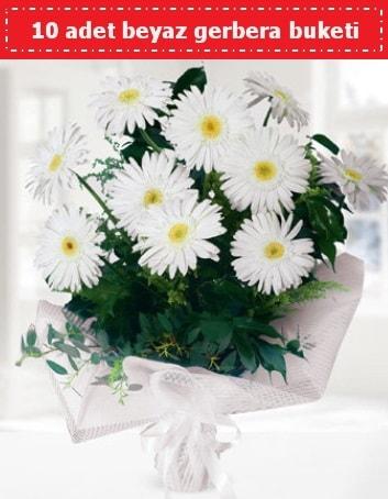 10 Adet beyaz gerbera buketi  Bartın çiçek , çiçekçi , çiçekçilik