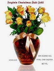 Bartın internetten çiçek satışı  mika yada Cam vazoda 12 adet sari gül